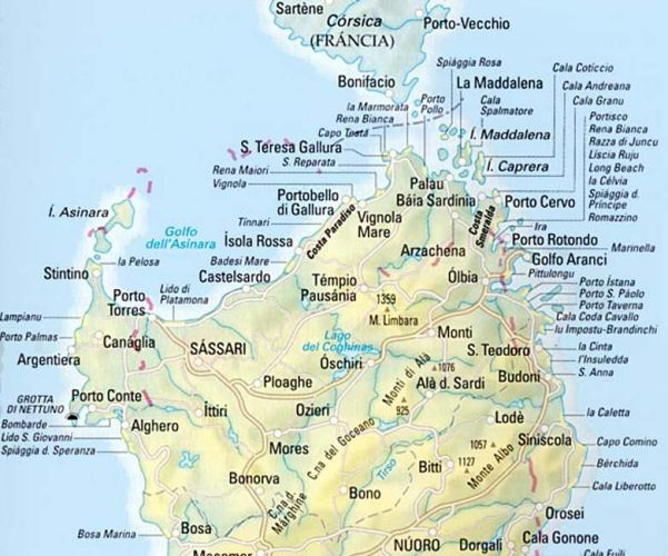 Sardegna Settentrionale Cartina.Cartina Spiagge Sardegna Nord