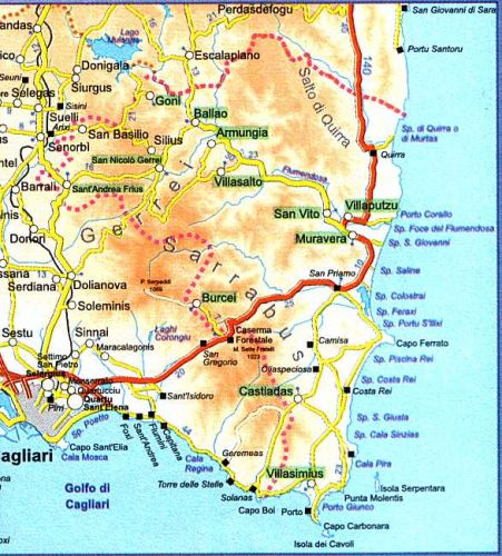 Sardegna Cartina Sud.Cartina Spiagge Sardegna Sud